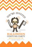 Halloween invitation card for costume night party cute kid vector illustration