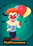 Halloween invitation or greeting card. Smiling evil clown with a. Ir balloons. Vector illustration on bright background with bats Stock Photo