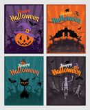 Halloween invitation or greeting Cards set. Set of retro vintage design elements and signs, lettering and characters. Bat and skeleton, pumpkin, black cat on stock illustration