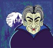 Halloween invitation or halloween card with dracula and dark cas. Tle,  illustration Stock Photo