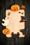 Halloween invitation over wooden background Stock Photos