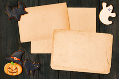 Halloween invitation over wooden background Royalty Free Stock Photography