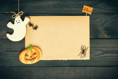 Halloween invitation over wooden background Stock Images