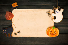 Halloween invitation over wooden background Stock Image