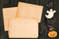Halloween invitation over wooden background Stock Photography
