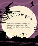 Halloween invitation poster. With Witch flying on broom Royalty Free Stock Photos