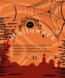 Halloween invitation poster. With spider, cemetery and web Royalty Free Stock Photo
