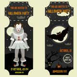 Halloween invitation template with scary clown and big bat. Royalty Free Stock Photos