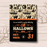 Halloween invitation. Vintage hand drawn Royalty Free Stock Photos