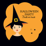 Halloween invitation witch girl. Invitation to Halloween party. Colorful vector illustration of a girl in a witch costume making funny grimace, showing her Royalty Free Stock Photos