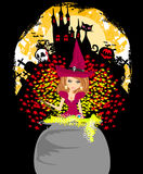Halloween invitation - witch, haunted castle, skull Stock Image