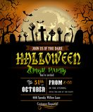 Halloween invitation with zombies hands Royalty Free Stock Images