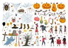 Halloween-inzameling, illustratie, krabbel, schets, tekening, vector stock foto