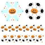 Halloween-Inzameling met Pompoenen, Spoken en Spinnen Stock Afbeelding