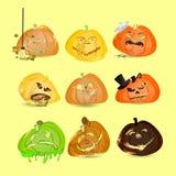 Halloween Inzameling van Pompoenen reeks Stock Foto's