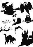Halloween items. Isolated on white- a bat, a cat, a witch, a ghost, a castle, a owl, a grave Stock Image