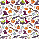 Halloween items pattern. Vector decorative pumpkins, bats, ghosts, broom, caldrons and witch hats stained glass style for your design on white background Stock Photo