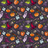 Halloween items pattern. Royalty Free Stock Photo