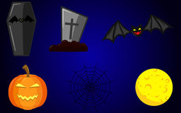 Halloween items yellow moon bat pumpkin coffin grave gravestone cobweb Stock Photos