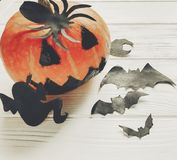 Halloween. jack lantern pumpkin with witch ghost bats and spider Royalty Free Stock Photos