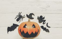 Halloween. jack lantern pumpkin with witch ghost bats and spider Stock Image