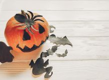 Halloween. jack lantern pumpkin with witch ghost bats and spider Stock Images