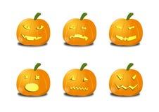 Halloween, Jack O Lantaarn, Gesneden pompoen illustrat Stock Fotografie