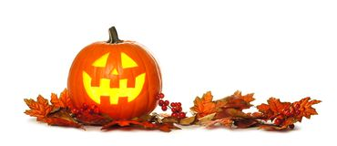 Halloween Jack o Lantern with autumn leaf border over white Stock Images