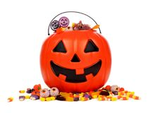 Halloween Jack o Lantern candy collector over white Stock Photo