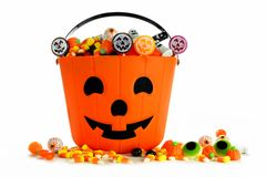 Halloween Jack o Lantern candy collector over white Royalty Free Stock Photos