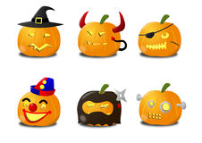 Halloween, Jack O Lantern, Carved pumkin illustrat. A set of anthropomorphic carved pumpkins to use as Jack O Lanterns for the Halloween. The pumpkins are Royalty Free Stock Photo