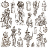 Halloween, Jack o Lantern - An hand drawn white pack Royalty Free Stock Images