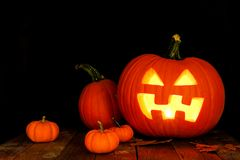 Halloween Jack o Lantern night scene with pumpkins Stock Photo