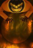 Halloween Jack O Lantern Over Spooky Moon. Halloween Jack O Lantern Over Fiery Spooky Moon Illustration Stock Images