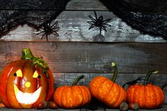 Halloween Jack-o-Lantern with pumpkin bottom border against rustic wood Stock Images