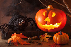 Halloween Jack O Lantern pumpkin decoration spiders candles Royalty Free Stock Images