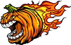 Halloween Jack-O-Lantern Pumpkin with Flames. Cartoon Image of a Scary Flaming Halloween Pumpkin Jack O Lantern Head with Screaming Expression vector illustration