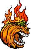 Halloween Jack-O-Lantern Pumpkin with Flames Royalty Free Stock Photography