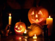 Halloween Jack O` Lantern pumpkin head stacked at Halloween night. Royalty Free Stock Images