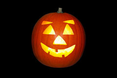 Halloween Jack o Lantern Pumpkin. Halloween Jack o' lantern pumpkin on an isolated black background with a clipping path Royalty Free Stock Photos