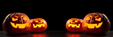 Halloween Jack O` Lantern pumpkins Stock Photos