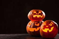 Halloween Jack O` Lantern pumpkins Royalty Free Stock Images