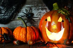 Halloween Jack o Lantern and pumpkins, night scene Stock Image