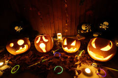 Halloween Jack-o-Lantern Pumpkins Royalty Free Stock Photo