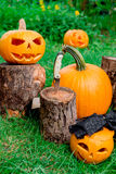 Halloween.  Jack-o-Lantern. scary pumpkin with a smile near knife in  stump in green forest, outdoor. Decoration. Royalty Free Stock Images