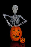 Halloween Jack O Lantern and Skeleton Royalty Free Stock Photography