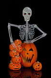 Halloween Jack O Lantern and Skeleton Stock Photography