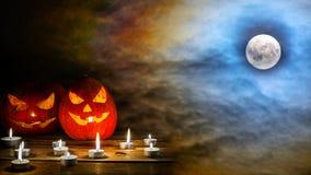 Halloween jack-o-lantern on the terrifying midnight sky with ful. Halloween jack-o-lantern on the terrifying  midnight sky with full moon background. Halloween Royalty Free Stock Images
