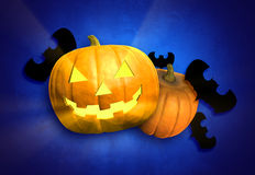 Halloween Jack-o-Lanterns. Halloween Jack-o-lantern with whole pumpkin and decorative black bats; blue background vector illustration