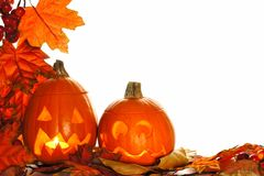 Halloween Jack o Lanterns with autumn leaf corner border Stock Image